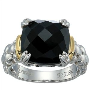 EFFY 18k Gold and 925 Silver Onyx Ring Sz 7